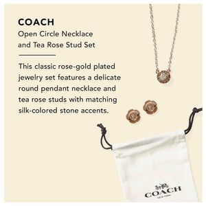Coach Open Circle Necklace & Tea Rose Stud Earring